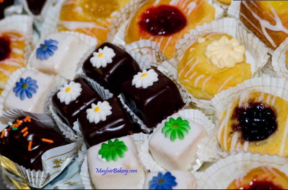 Miniature pastry assortment with petite fours and danish