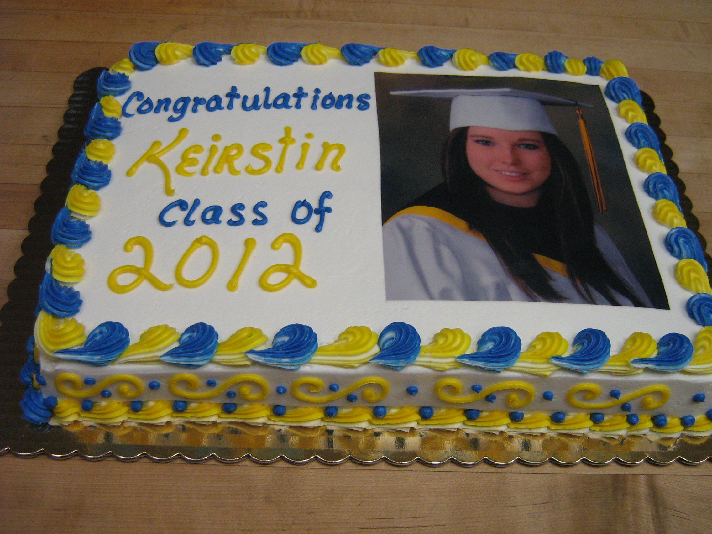 Nazareth Academy graduation cake - blue and white