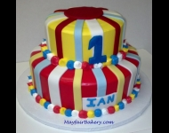 2 tier with fondant stripes