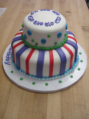 2 tier with stripes - cirlces
