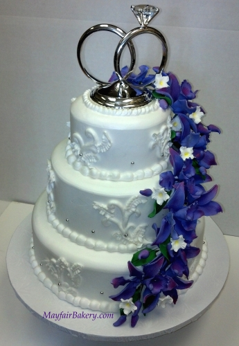 3 tier with lavender gum paste flowers