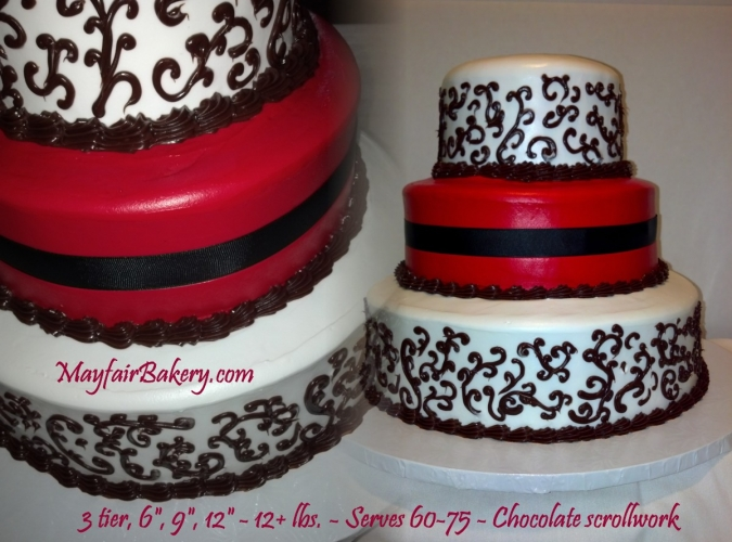 3 tier with chocolate scrollwork