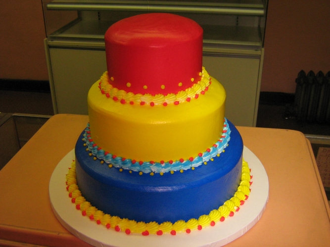 3 tier red, yellow, blue